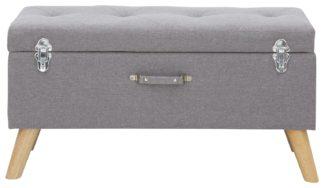 An Image of Minstrel Large Fabric Ottoman Storage - Grey