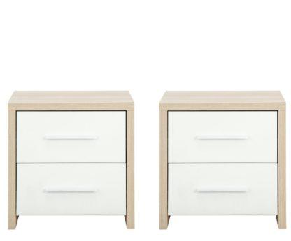 An Image of Habitat Broadway 2 Bedside Tables Set -Oak Effect & White