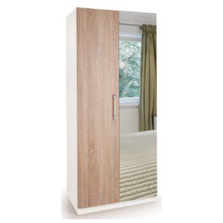 An Image of Euston Mirrored Double Wardrobe White/Natural
