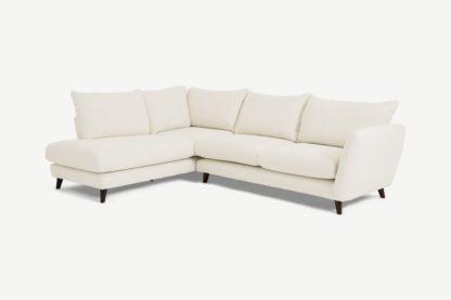 An Image of Elmira Left Hand Facing Corner Sofa, Ivory White Boucle