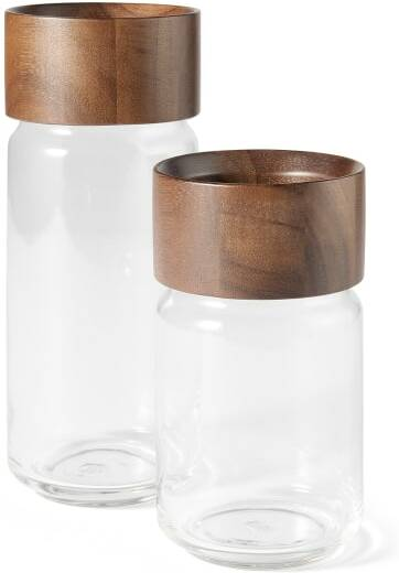 An Image of Clover Acacia Set of 2 Wood Storage Jars, Natural