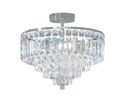 An Image of Argos Home Olivia 3 Light Ceiling Fitting - Clear / Chrome