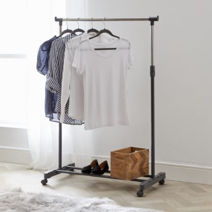 An Image of Extendable Clothes Rail with Wheels Grey