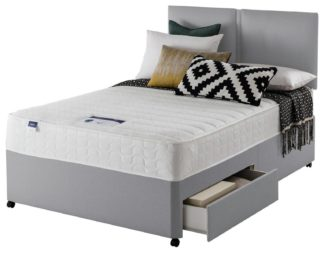 An Image of Silentnight Hatfield Memory 2 Drawer Double Divan Bed - Grey