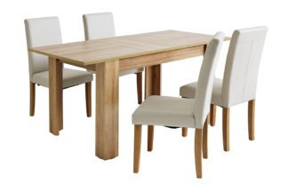 An Image of Habitat Miami Oak Effect Extending Table & 4 Cream Chairs