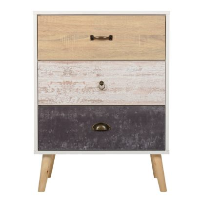 An Image of Nordic 3 Drawer Chest White, Black and Brown