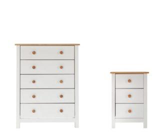 An Image of Habitat Scandinavia Bedside Table & 5 Drawer Set-Two Tone