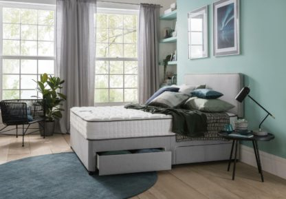 An Image of Silentnight Pavia Memory 2 Drawer Grey Divan - Small Double