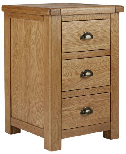 An Image of Habitat Kent 3 Drawer Bedside Table - Oak & Oak Veneer