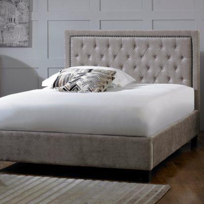 An Image of Rhea Mink Velvet Bed Frame Grey
