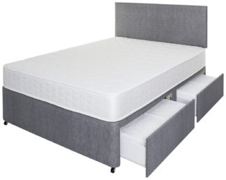 An Image of Argos Home Elmdon Memory 4 Drawer Double Divan - Grey