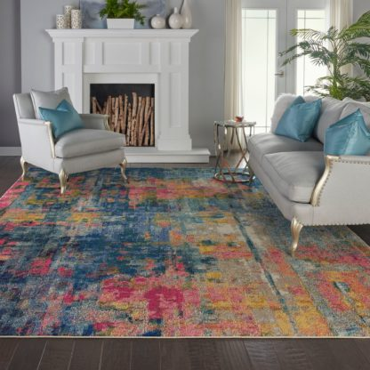 An Image of Celestial Blue and Yellow Rug Multi-Coloured