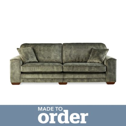 An Image of Morello 4 Seater Sofa Slub Velvet Green