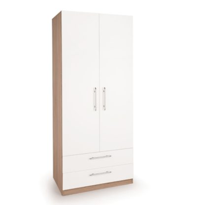 An Image of Hyde 2 Drawer Double Wardrobe White/Natural
