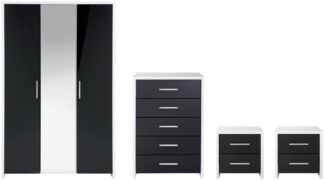 An Image of Habitat Broadway Gloss 4 Piece Wardrobe Set -Black/ White
