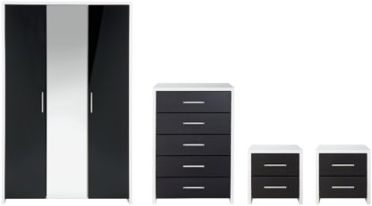 An Image of Habitat Broadway Gloss 4 Piece Wardrobe Set -Black/ White