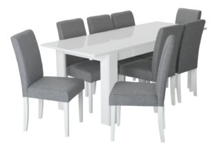 An Image of Habitat Miami Gloss Extending Table & 8 Tweed Chair -Grey