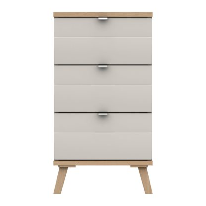 An Image of Murray 3 Drawer Bedside Off-White
