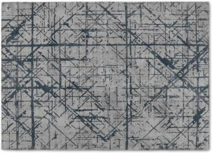An Image of Moers Abstract Lines Rug, Large 160 x 230cm, Silver & Midnight Blue