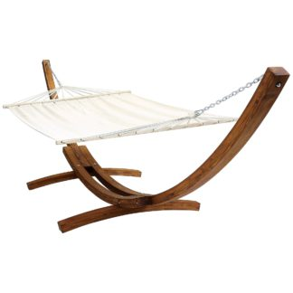 An Image of Extra Large Wooden Hammock With Arc Stand Cream Canvas Wood (Brown)