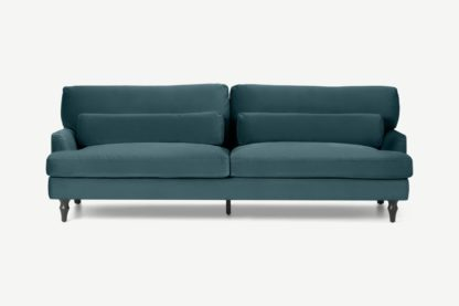 An Image of Tamyra 3 Seater Sofa, Steel Blue Velvet