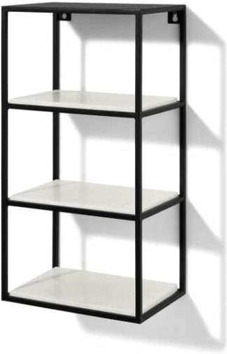An Image of Dordie 4-Tier Wall-Mounted Storage Shelf Unit, Marble & Metal