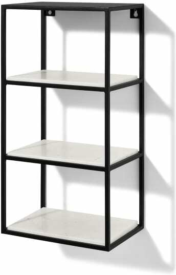 An Image of Dordie 4-Tier Wall-Mounted Storage Shelf Unit, Marble & Metal