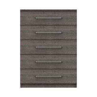 An Image of Parker Grey 5 Drawer Chest Dark Grey
