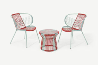 An Image of Lombre Garden Aperitif Set, Multi Woven Red & Pale Blue