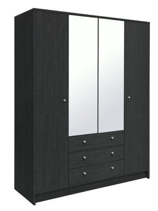 An Image of Habitat Malibu 4 Dr 3 Drw Mirror Wardrobe - Black Oak Effect