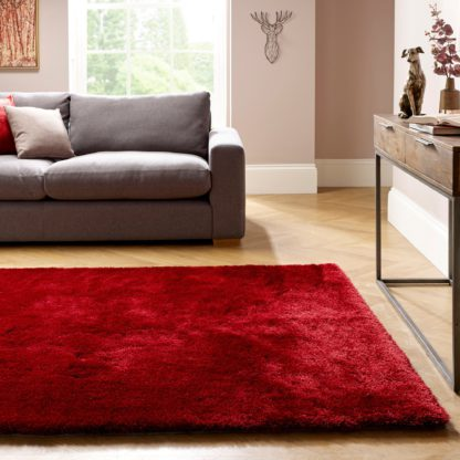 An Image of Indulgence Shaggy Rug Red