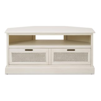 An Image of Lucy Cane Cream Corner TV Stand Slate (Grey)