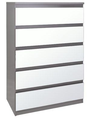 An Image of Habitat Jenson Gloss 5 Drawer Mirror Chest - Grey