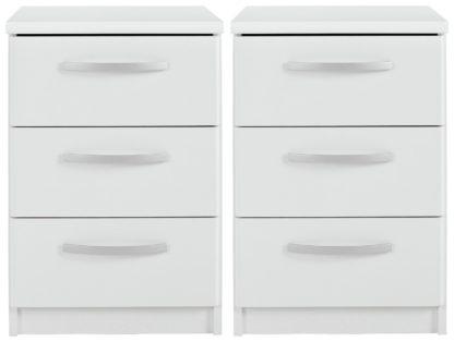 An Image of Habitat Hallingford 2 Bedside Tables Set - White