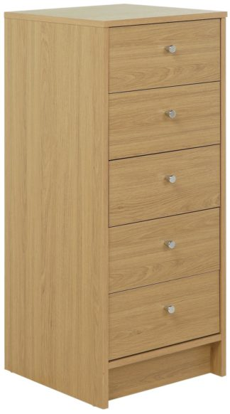 An Image of Habitat Malibu 5 Drawer Tallboy - Oak Effect