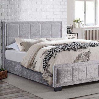 An Image of Hannover Steel Crushed Velvet Bed Frame Grey