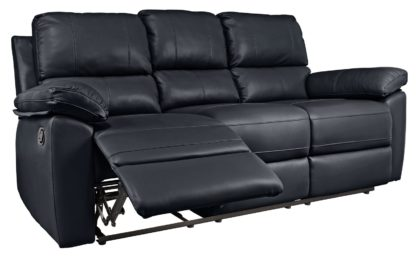 An Image of Argos Home Toby 3 Seat Faux Leather Recliner Sofa -Chocolate