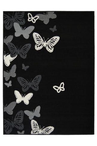 An Image of Homemaker Adorn Butterfly Rug - 80x150cm - Black