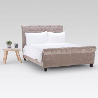 An Image of Orbit Mink Velvet Upholstered Bed Frame Beige