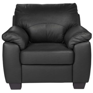 An Image of Argos Home Logan Leather Mix Armchair - Black