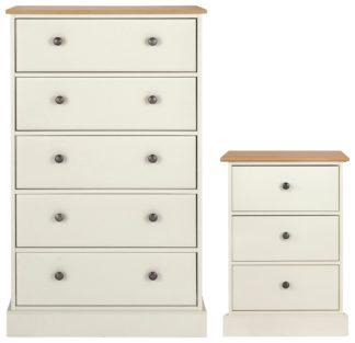 An Image of Argos Home Kensington Bedside & 5 Drw Set -Ivory/ Oak Veneer