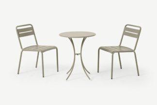 An Image of Emu 2 Seat Bistro Set, Light Grey Powder-Coated Steel