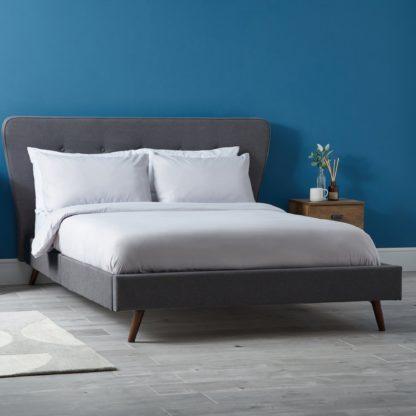 An Image of Mid Century Upholstered Bed - Dark Grey Dark Grey