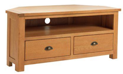 An Image of Habitat Kent 2 Drawer Oak & Oak Veneer Corner TV Unit