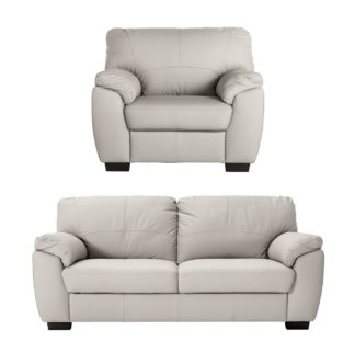 An Image of Argos Home Milano Leather Chair & 3 Seater Sofa - Light Grey
