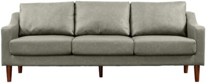 An Image of Argos Home Brixton 3 Seater Faux Leather Sofa - Grey