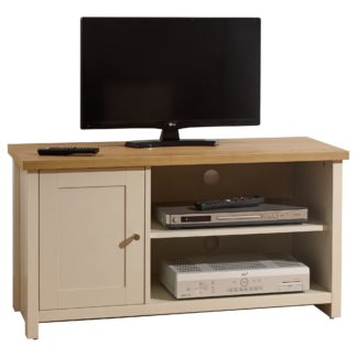 An Image of Lancaster Small TV Stand Cream and Brown