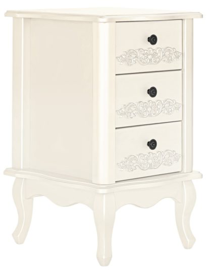 An Image of Argos Home Sophia 3 Drawer Bedside Table - Soft White