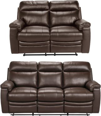 An Image of Argos Home Paolo 2 & 3 Seater Manual Recliner Sofas - Brown