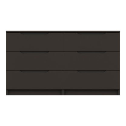 An Image of Legato Graphite Gloss 6 Drawer Wide Chest Black